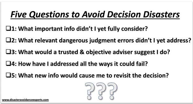 five questions to avoid decision disasters - How to make decisions quickly